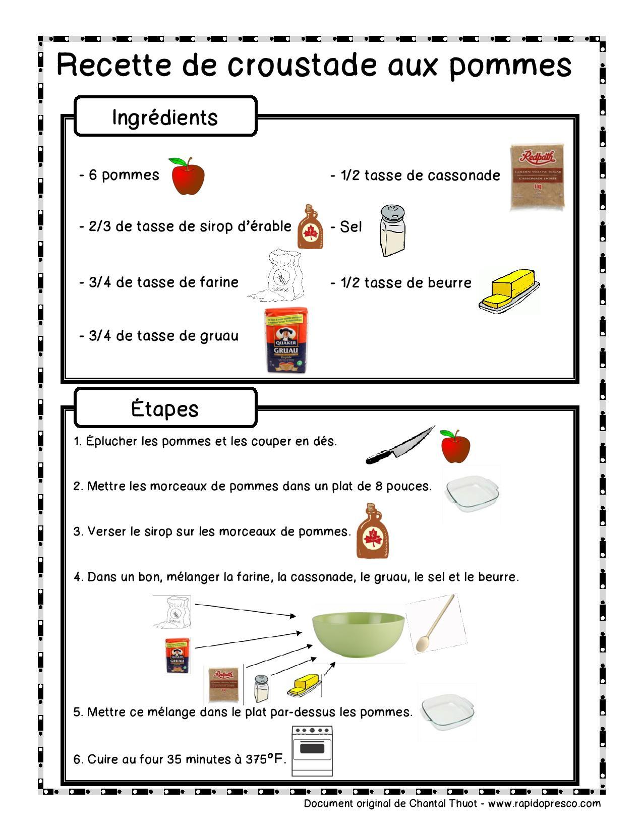 Recette illustr e croustade aux pommes rapido pr sco - Cuisiner avec ce que l on a dans le frigo ...