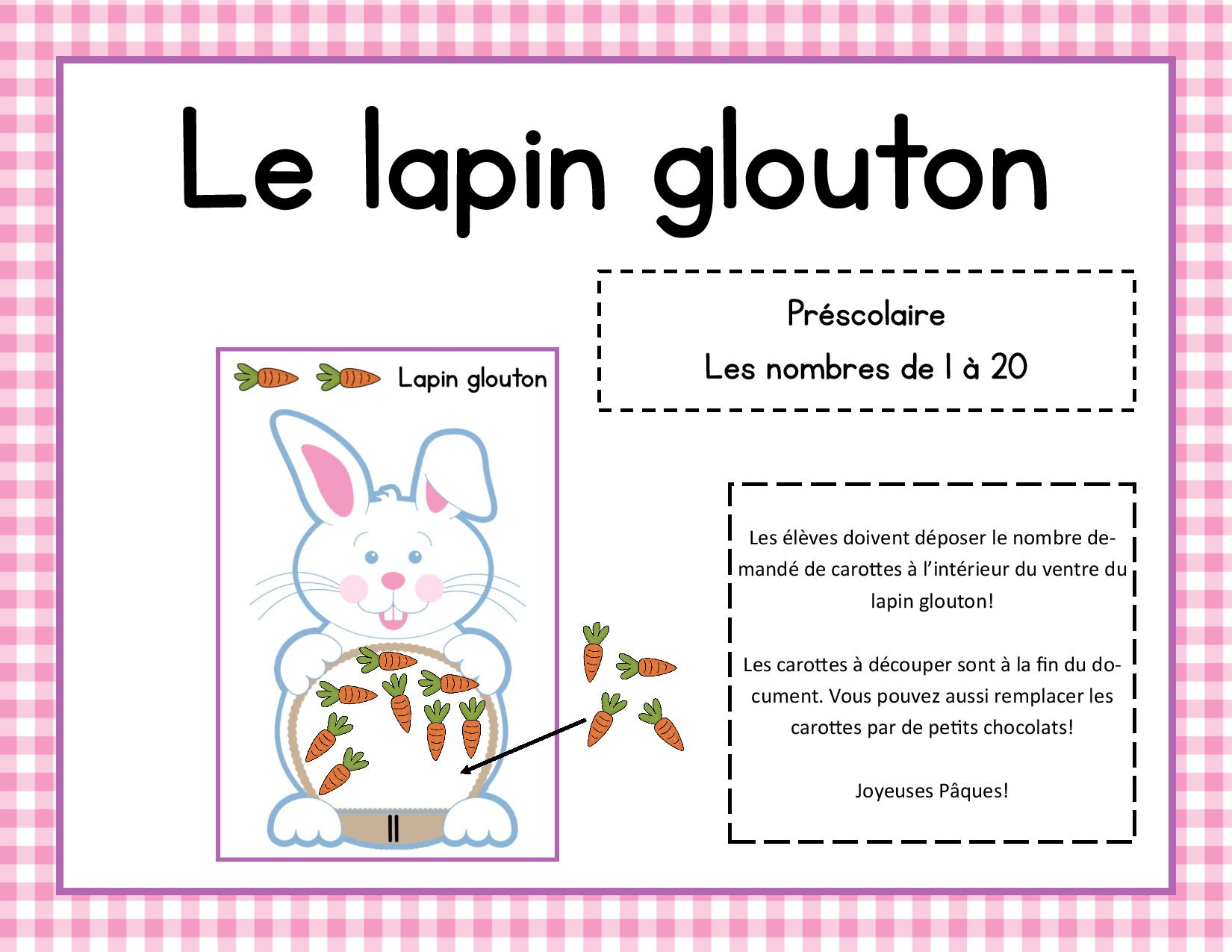 Assez Le lapin glouton – jeu mathématique pour Pâques – Rapido-Présco PB62